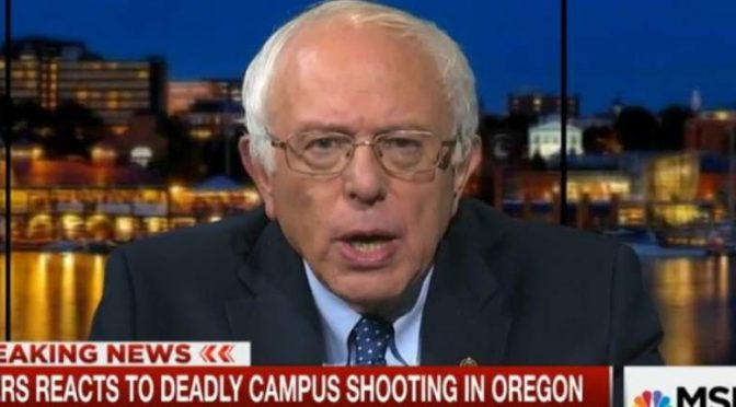 This is a screencap of Bernie Sanders speaking about the campus shooting in Oregon on MSNBC