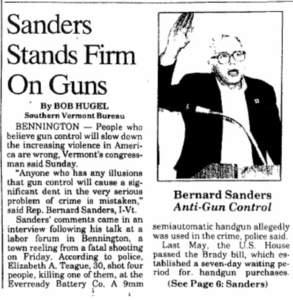 "This is an excerpt of a news article from the Rutland Herald that predates Bernie Sanders' campaign for the White House. The title reads, ""Sanders Stands Firm on Guns."""