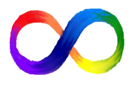 This is an image of a rainbow-colored infinity sign. The sign is considered a symbol of the neurodiversity movement.