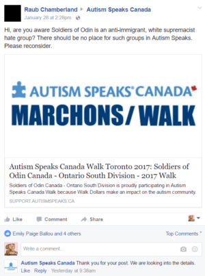 This is a screenshot of Autism Speaks Canada March's Soldiers of Odin Page
