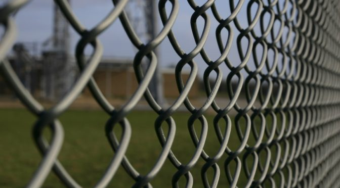 This is an image of a chain link fence. There is a grassy lawn behind it.
