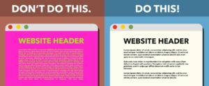 "This is an image of two different templates. Under ""don't do this"" is a website with a magenta background and lime green text. Under ""Do this!"" is a website with a white background and black text."