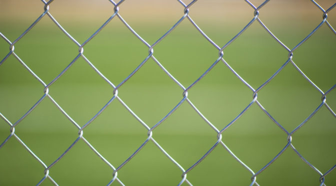 This is an image of a chain link fence. There is a green lawn in the background behind the fence.