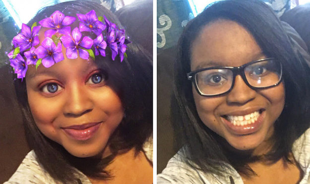 These are two images of Keah Brown The one on the left is wearing a snapchat filter flower crown.