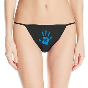 This is a black thong with a blue handprint on it. The handprint is child-sized and has a puzzle piece cut out the middle.