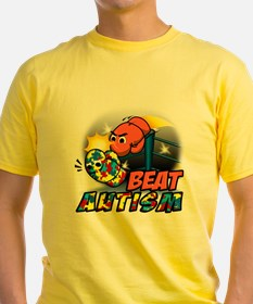 "This is an image of a t-shirt of a boxing glove with eyes angrily punching another boxing glove covered in puzzle pieces. The text reads, ""Beat autism."""