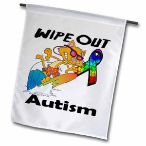 "This is a flag with a cat wearing sunglasses riding a surf board. There is an autism awareness ribbon behind him, with the text ""wipe out autism."""