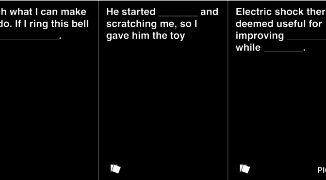 This is an image of 3 Cards Against Humanity Black Cards. Each makes a joke about human rights abuses.