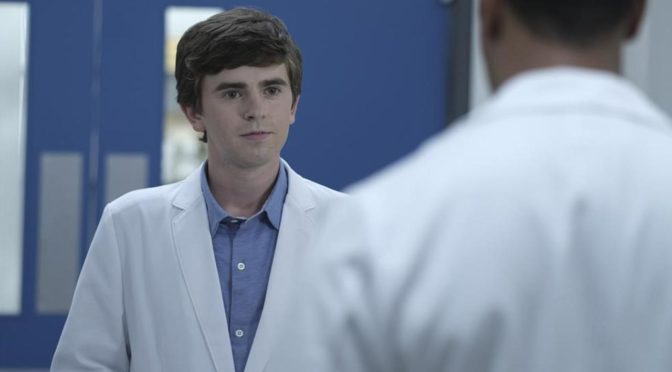 This is an image of the main character, Dr. Sean Murphy, wearing a white doctor's coat. He is talking to another person wearing a white doctor's coat, but that person's back is turned, making him more difficult to identify.